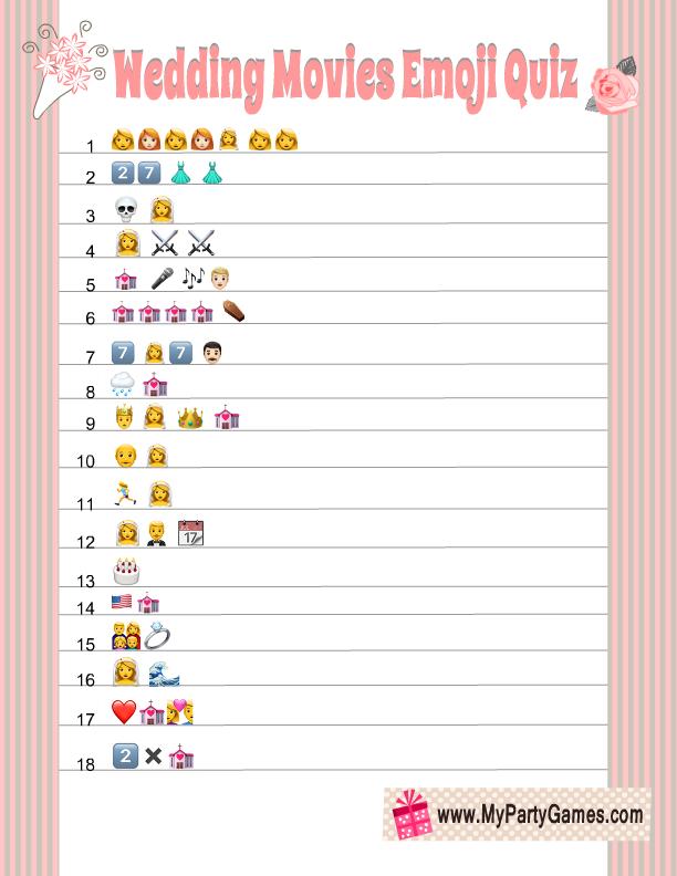 picture regarding Wedding Emoji Pictionary Free Printable known as Cost-free Printable Wedding day Videos Emoji Pictionary Quiz