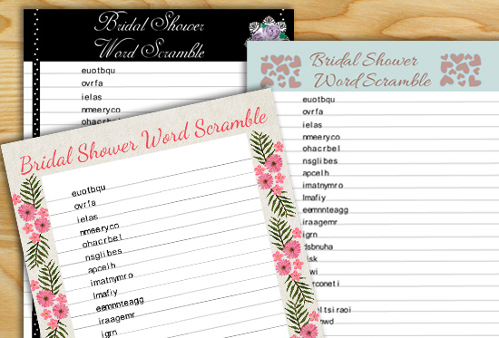 photo relating to Emoji Bridal Shower Game Free Printable titled Totally free Printable Bridal Shower Term Scramble Recreation