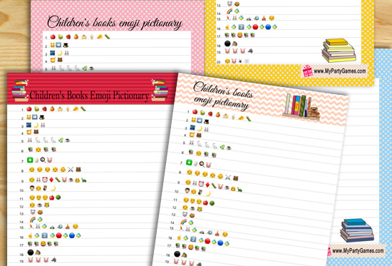 Free Printable Children's Books Emoji Pictionary Quiz for Baby Shower