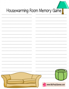 Free Printable Memory Game for Housewarming Party