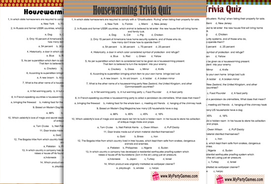 Free Printable Housewarming Trivia Quiz with answer key