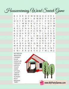 Housewarming Word Search Puzzle Printable