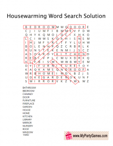 Free Printable Housewarming Word Search Game Solution