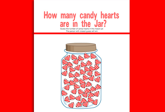 Free Printable How Many Candy Hearts are in the Jar? Game