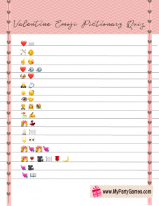 Free Printable Valentine's Day Emoji Pictionary Quiz
