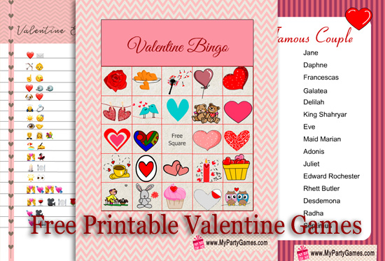Free Printable Games for Valentin's Day