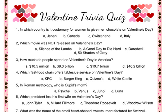 picture relating to Printable Trivia Questions and Answers named No cost Printable Valentine Trivia Match with Remedy Top secret