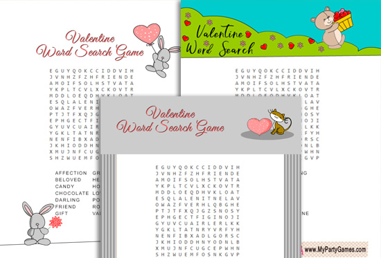 Free Printable Valentine Word Search Game for Kids