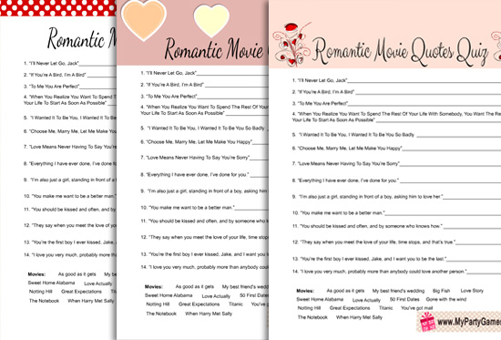 Romantic Movie Quotes Quiz for Valentine's Day