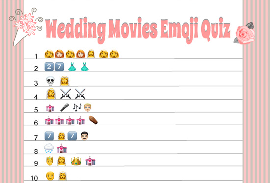 photograph relating to Free Printable Emojis called Totally free Printable Wedding day Motion pictures Emoji Pictionary Quiz