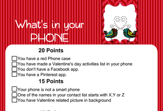 Free Printable What's in Your Phone Game for Valentine's Day