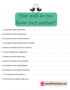 How Well do you know your Partner? Free Printable