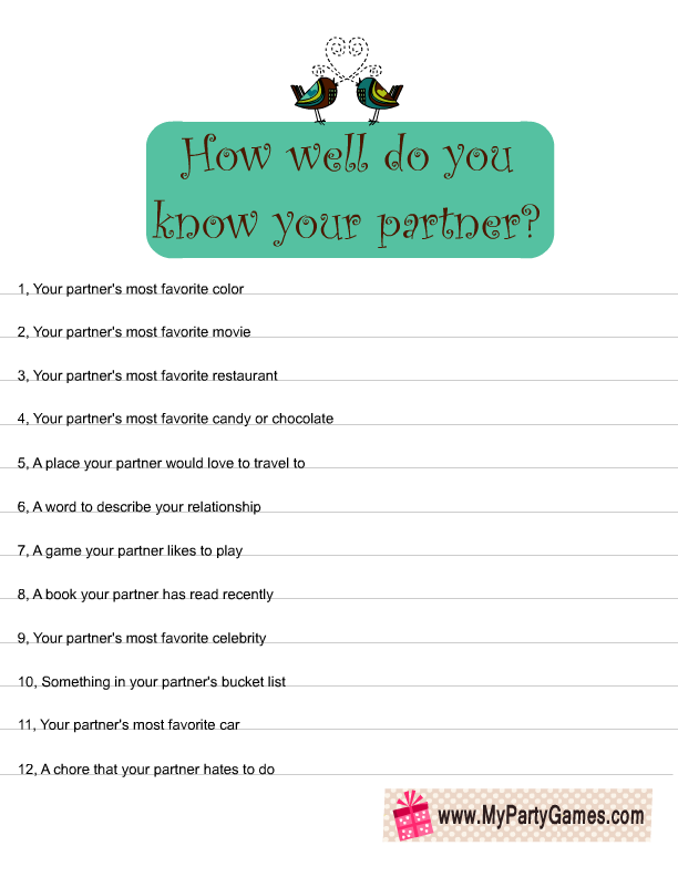 How Well Do You Know Your Partner Quiz: How Well Do You Know Your Partner? Free Printable Game