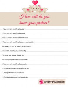 How Well do you know your Partner? Game for Couples