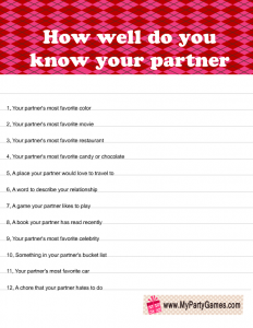 How Well do you know your Partner? Printable Valentine's Day Game