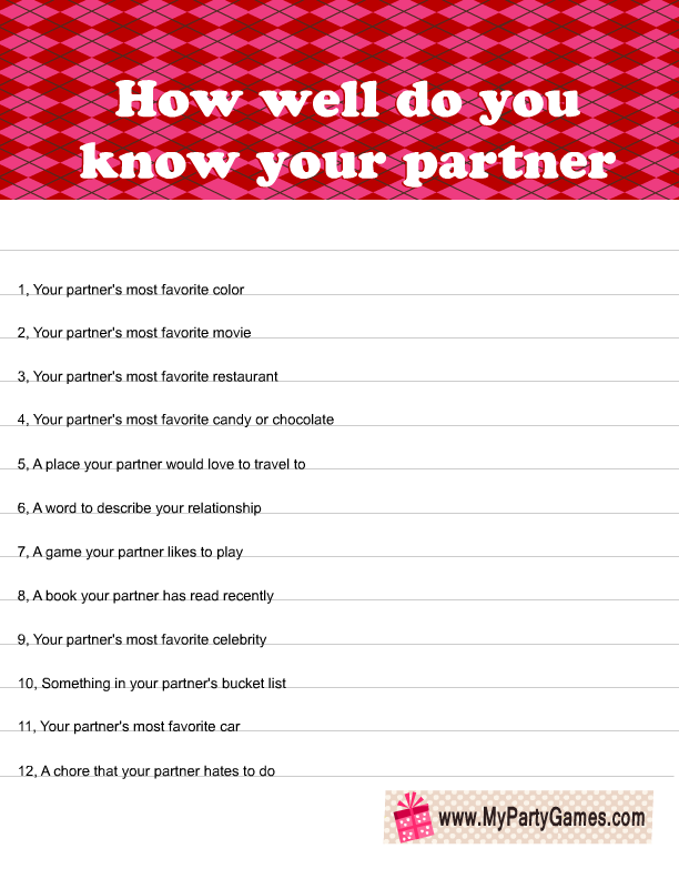 Relationship quiz for couples