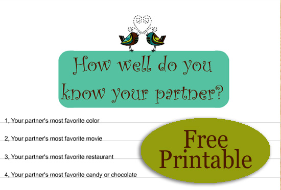 photograph relating to Printable Games for Couples titled How Very well do your self notice your Associate? Totally free Printable Recreation