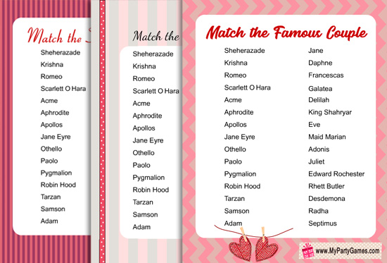 Match the Famous Couple, Free Printable Game