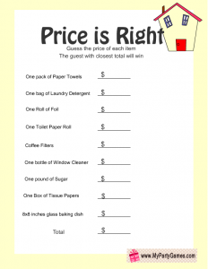 Free Printable Price is Right Housewarming Game