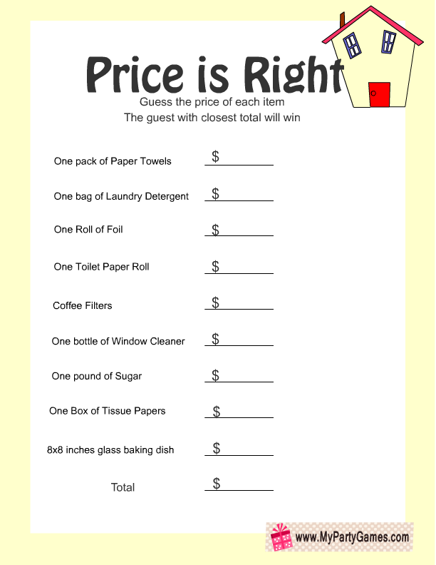 picture about The Price is Right Baby Shower Game Free Printable identified as Price tag is Immediately, Cost-free Printable Housewarming Sport