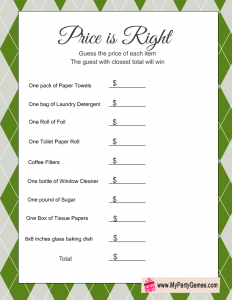 Free Printable Price is Right Game for Housewarming Party