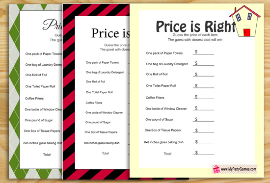 Price is Right, Free Printable Housewarming Party Game
