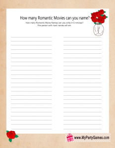 Free Printable How Many Romantic Movies Can you Name Game