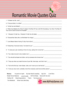 Free Printable Romantic Movie Quotes Quiz