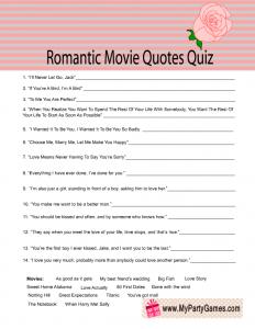 Free Printable Romantic Movie Quotes Quiz