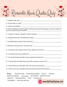 Valentine's Day Romantic Movie Quotes Quiz