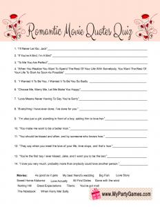 Valentine's Day Romantic Movie Quotes Quiz