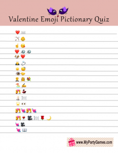 Valentine Emoji Pictionary Game