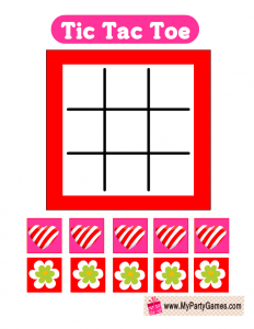 Tic Tac Toe Game with Hearts and Flowers