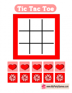 Free Printable Valentine Tic Tac Toe in Red and Pink