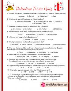 Free Printable Valentine Trivia Quiz