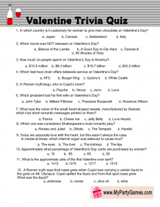 graphic about Spring Trivia Questions and Answers Printable known as Absolutely free Printable Valentine Trivia Video game with Alternative Major