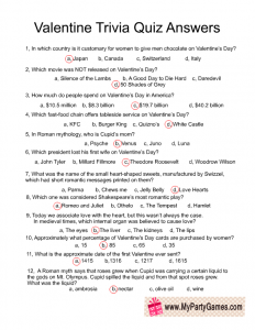 Valentine Trivia Quiz Answer Key