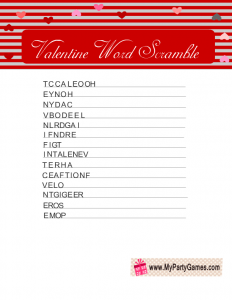 Word Scramble Game for Valentine's Day