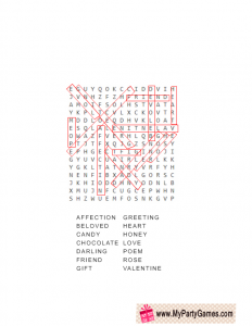 Valentine Word Search Game Answer Key