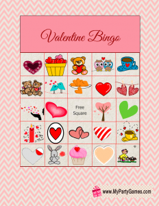 image relating to Valentine Bingo Free Printable known as Absolutely free Printable Valentine Think about Bingo Video game