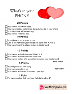 What's in Your Phone Game for Valentine's Day Free Printable