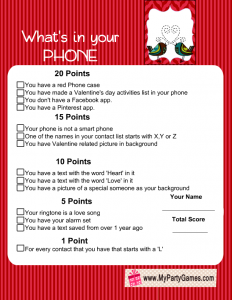 What's in Your Phone Valentine Game