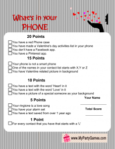 Free Printable What's in Your Phone Game (Valentine Version)
