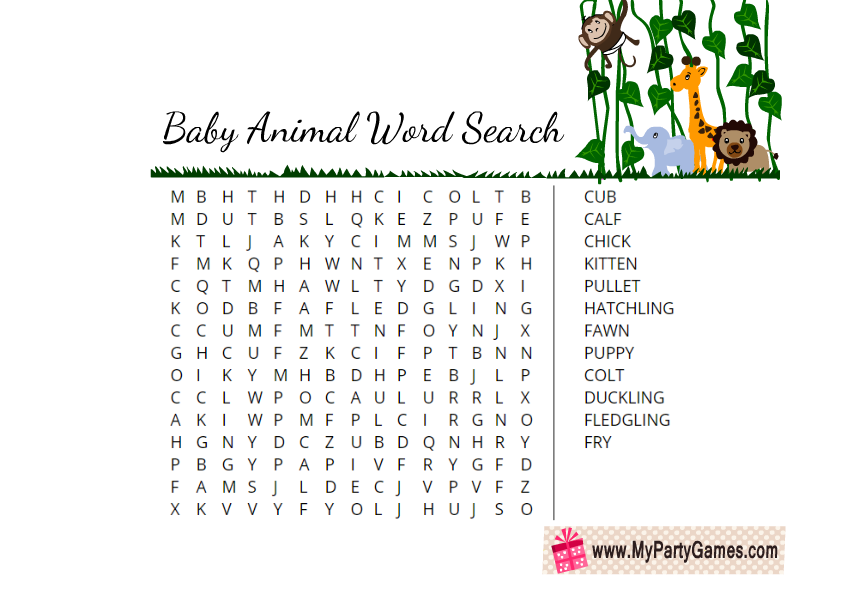 photograph relating to Animals Word Search Printable named Absolutely free Printable Little one Animal Term Look Video game
