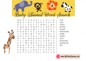 Printable Baby Animal Word Search Game for Baby Shower