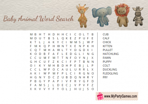 Free Printable Baby Animal Word Search Puzzle