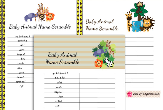 Free Printable Baby Animals Name Scramble