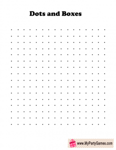 Dots and Boxes Travel Game Printable