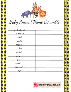 Baby Animal Name Scramble Free Printable