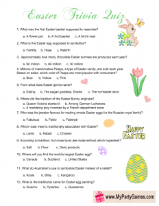 Easter Trivia Quiz Free Printable Game